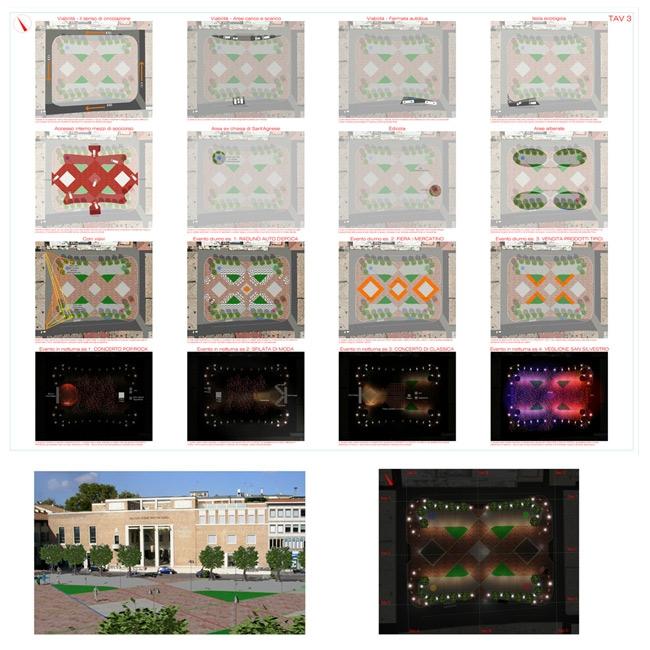 03 possibili configurazioni della piazza